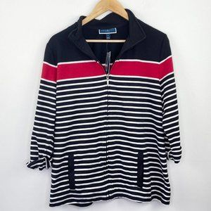 Karen Scott Sport Black Striped Mock Neck Jacket L